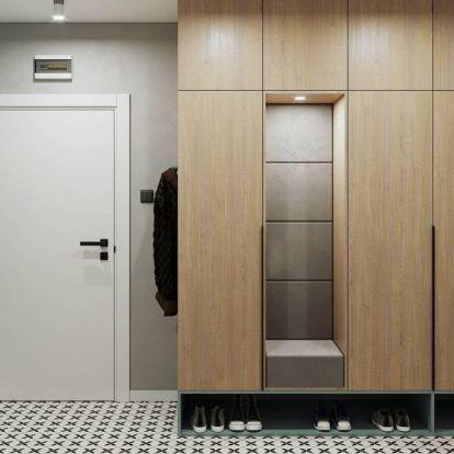 Pasztell árnyalatok, szürke, fehér és fa színpaletta nyugodt, visszafogott harmóniája 43m2-es lakásban