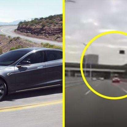Itt a bizonyíték, hogy a Tesla teteje néha, csak úgy a semmiből lerepülhet – VIDEÓ