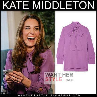 Kate Middleton in purple pussy-bow blouse on November 28