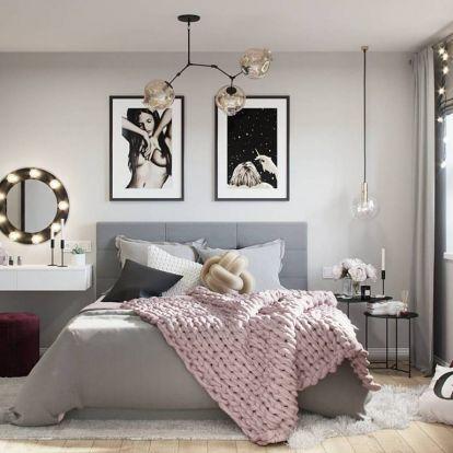 Pink, szürke és burgundi vörös, remek színösszeállítás 46m2-es, kényelmes lakásban