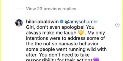 Amy Schumer Apologizes to Hilaria Baldwin for Reposting Her Instagram Photo as a Joke