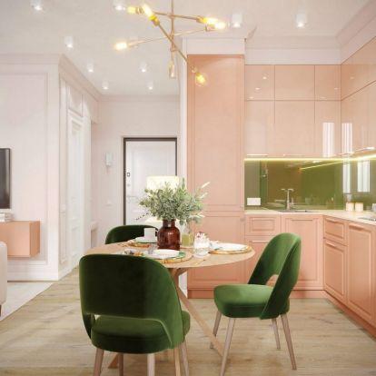 Nőies kis lakás egzotikus gyümölcsöt idéző színvilággal 39m2-en