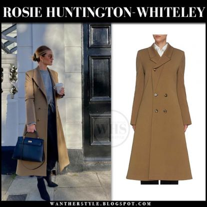 Rosie Huntington-Whiteley in camel coat and black ankle boots on February 6
