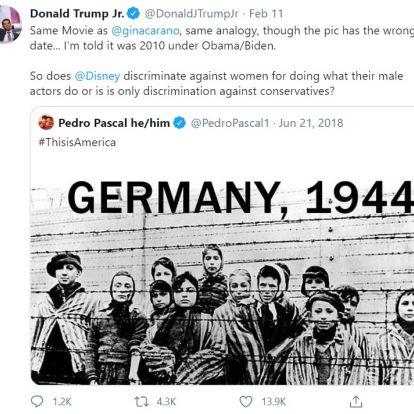 Donald Trump fia nekiment a Disney-nek és Pedro Pascalnak, amiért a színész is náci analógiával élt