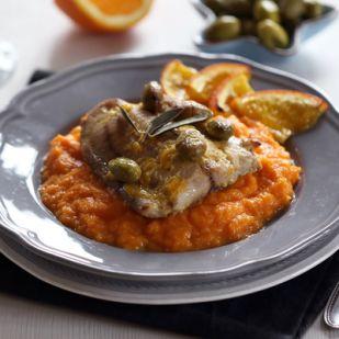Narancsos-olajbogyós hal sütőtökpürével