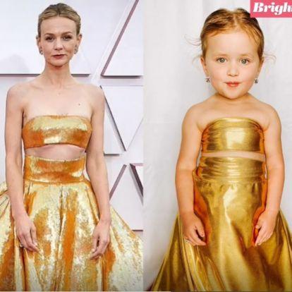 Szuperül utánozták a 2021-es Oscar legmenőbb ruháit a 4 éves ikrek