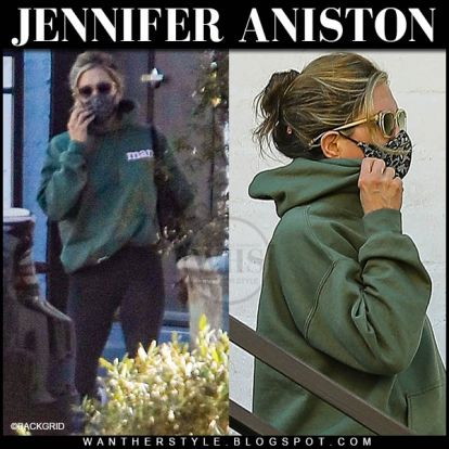 Jennifer Aniston in green hoodie with black lace face mask on April 29