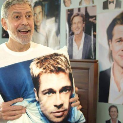 George Clooney imádni valóan csinált hülyét magából Brad Pitt legnagyobb rajongójaként
