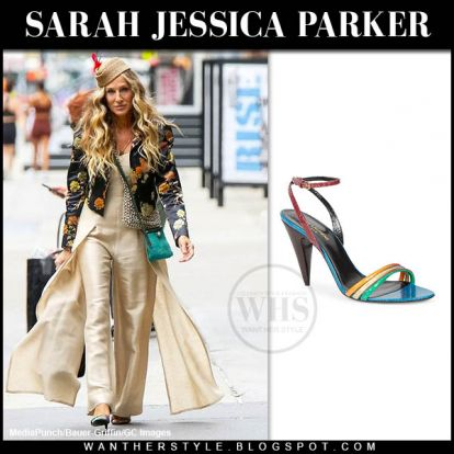 """Sarah Jessica Parker in beige linen jumpsuit and multicolored sandals set of """"And Just Like That"""""""
