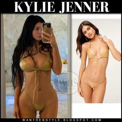Kylie Jenner in gold bikini on July 18
