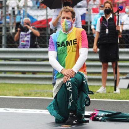Magyar Nagydíj: szivárványos pólót és szájmaszkot vett fel Sebastian Vettel
