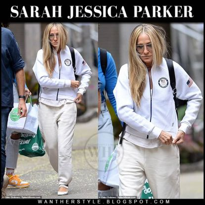 Sarah Jessica Parker in white zip jacket and sweatpants New York August 4