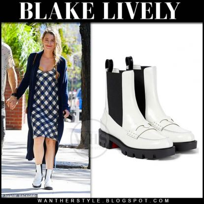 Blake Lively in white ankle boots and black and white check dress in NYC on September 26