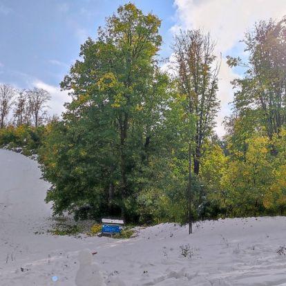 Hihetetlen látvány a 30 centis hó a zöld lombos fák tövében Bánkúton